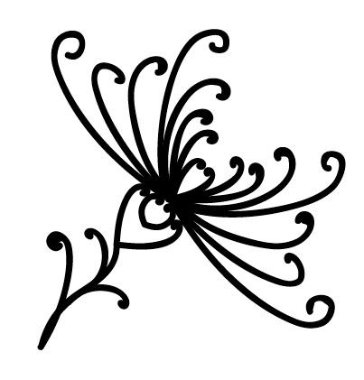 цветок из завитков дудлинг
