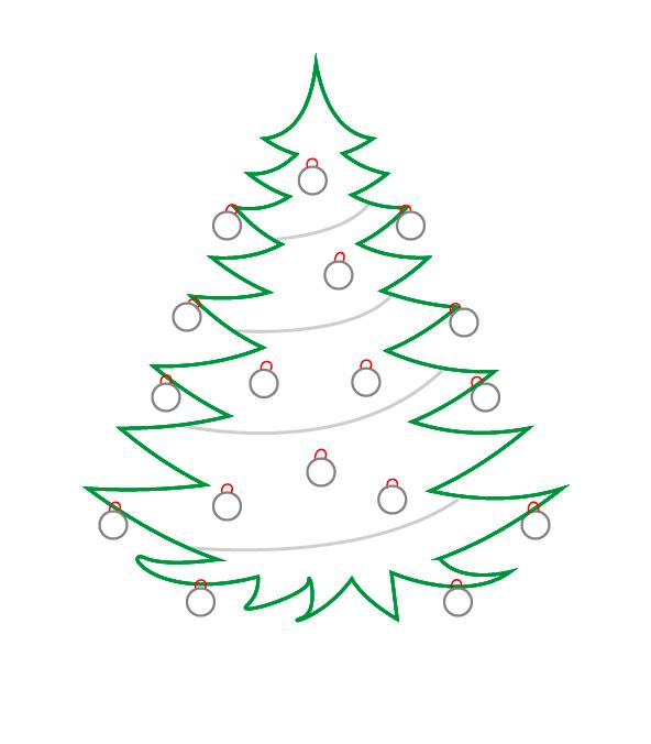 Как нарисовать новогоднюю елочку